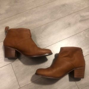 """TOMS Brown Leather """"Leila"""" Booties, 8.5"""